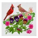 Cardinals in the Garden Print