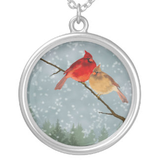 Cardinals in the Snow Necklace