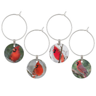 Cardinals in the snow wine charm