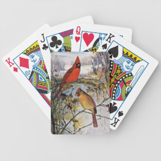 Cardinals in Winter Bicycle Playing Cards