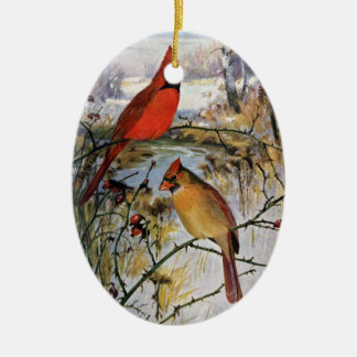 Cardinals in Winter Christmas Ornament