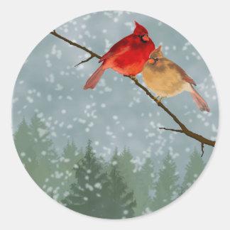 cardinals in winter classic round sticker