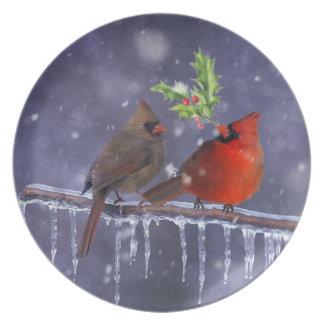 Cardinals of Christmas Plate