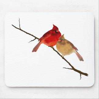 cardinals on a branch mouse mat