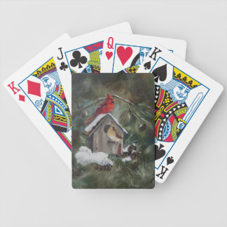 Cardinals On Snowy Birdhouse Bicycle Playing Cards