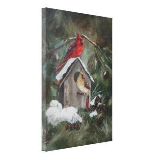 Cardinals on Snowy Birdhouse Canvas Print