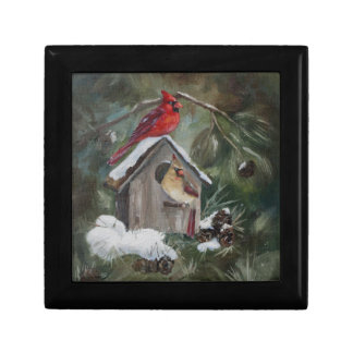 Cardinals On Snowy Birdhouse Gift Box