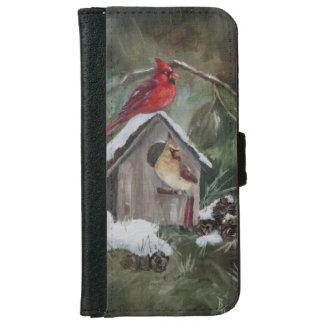 Cardinals on Snowy Birdhouse iPhone 6 Wallet Case