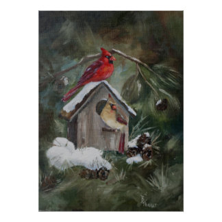 Cardinals on Snowy Birdhouse Poster