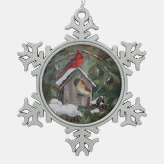 Cardinals on Snowy Birdhouse Snowflake Pewter Christmas Ornament
