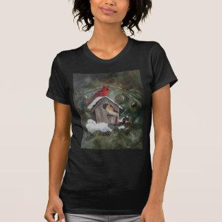 Cardinals On Snowy Birdhouse T-Shirt