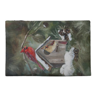 Cardinals on Snowy Birdhouse Travel Accessories Bag