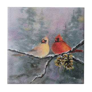 CARDINALS & PINE CONES by SHARON SHARPE Small Square Tile