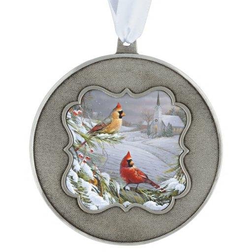 Cardinals Red Yellow Snowy Winter Scene Retro Scalloped Ornament