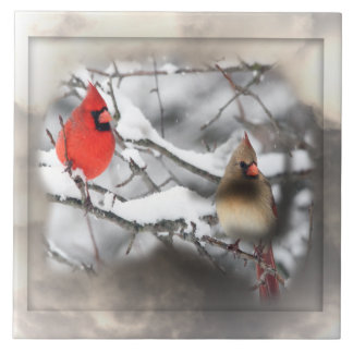 Cardinals Winter Scene Tile