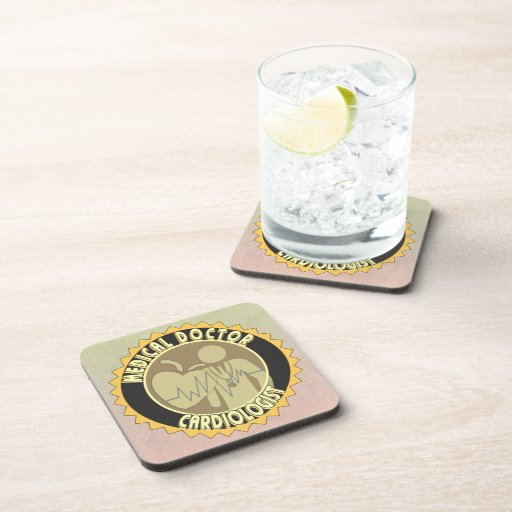 CARDIOLOGIST LOGO - HEART DOCTOR BEVERAGE COASTERS