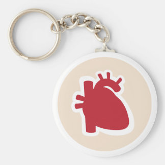 Cardiologist or cardiology red human heart logo basic round button key ring