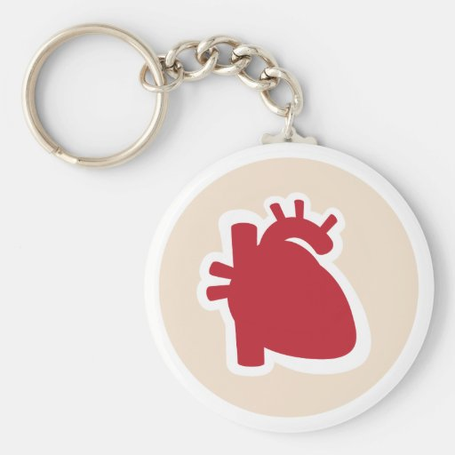 Cardiologist or cardiology red human heart logo keychain