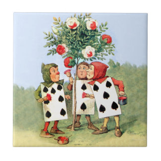 Cardmen Paint the Queen Roses in Wonderland Small Square Tile
