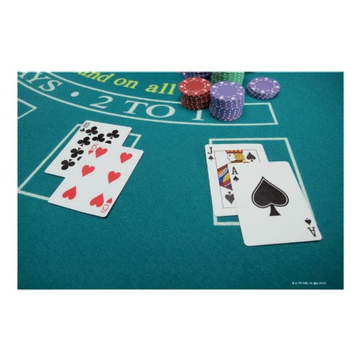 Cards and chips on betting table print