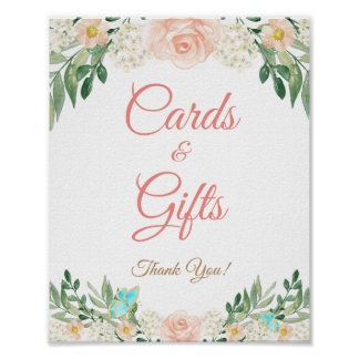 Cards and Gifts Blush Peach Floral Wedding Sign