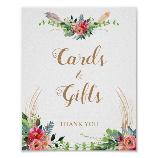Cards and Gifts Boho Country Floral Wedding Sign