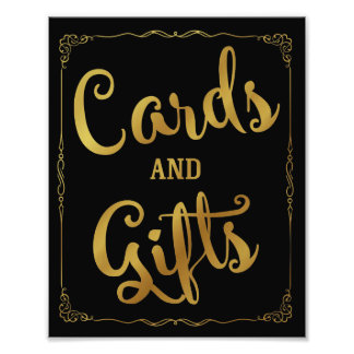 cards and gifts party wedding sign gold
