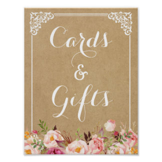 Cards and Gifts   Rustic Floral Kraft Wedding Sign Poster