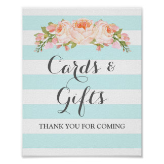 Cards and Gifts Sign Blue Flowers Stripes Poster