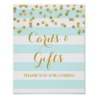 Cards and Gifts Sign Blue Stripes Gold Confetti Poster
