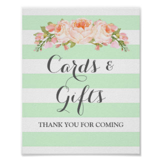 Cards and Gifts Sign Mint Flowers Stripes Poster