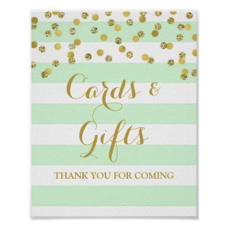 Cards and Gifts Sign Mint Stripes Gold Confetti Poster