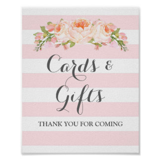 Cards and Gifts Sign Pink Flowers Stripes Poster