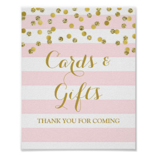 Cards and Gifts Sign Pink Stripes Gold Confetti Poster