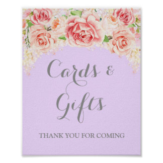 Cards and Gifts Sign Pink Watercolor Floral Purple Poster