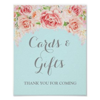Cards and Gifts Sign Pink Watercolor Flowers Blue Poster