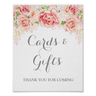 Cards and Gifts Sign Pink Watercolor Flowers Poster