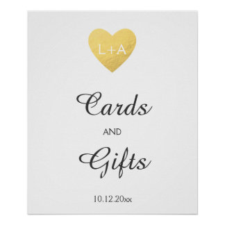 Cards and gifts Wedding sign, faux gold heart Poster