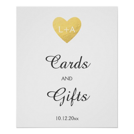 Cards and gifts Wedding sign, faux gold heart