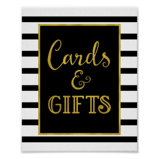 Cards and Gifts Wedding Sign Gold Black Stripes Poster