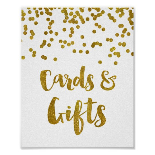 Cards and Gifts Wedding Sign Gold Confetti