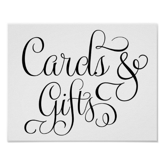 Cards and Gifts Wedding Sign Poster