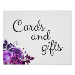 Cards and gifts wedding sign Purple flowers poster