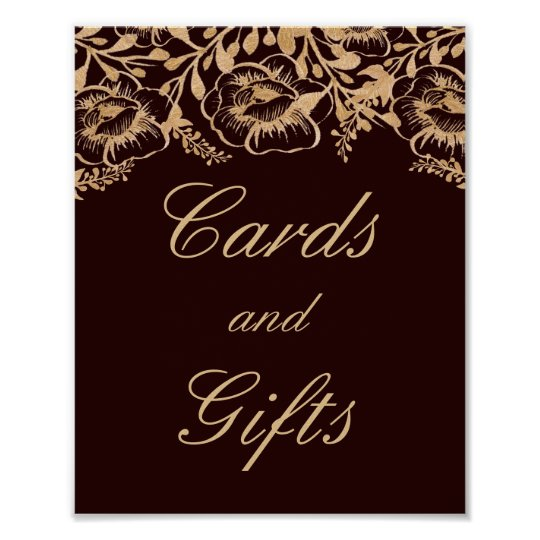 Cards And Gifts Wedding Vintage Gold Burgundy Sign