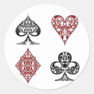 cards deck 2 classic round sticker