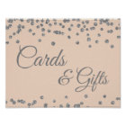 Cards & Gifts Silver Faux Glitter Confetti Blush Poster