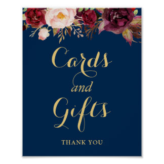 Cards Gifts Wedding Sign Burgundy Floral Navy Blue