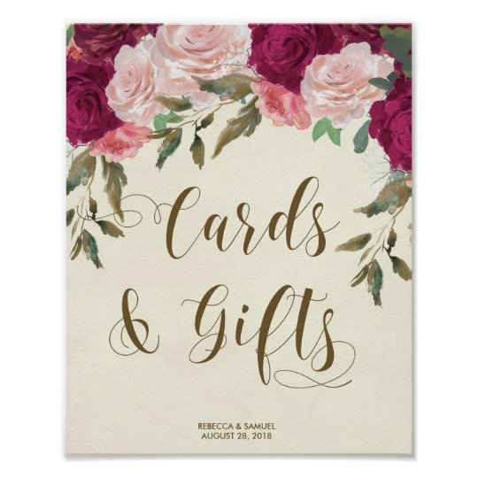 Cards Gifts wedding sign ivory pink florals Poster