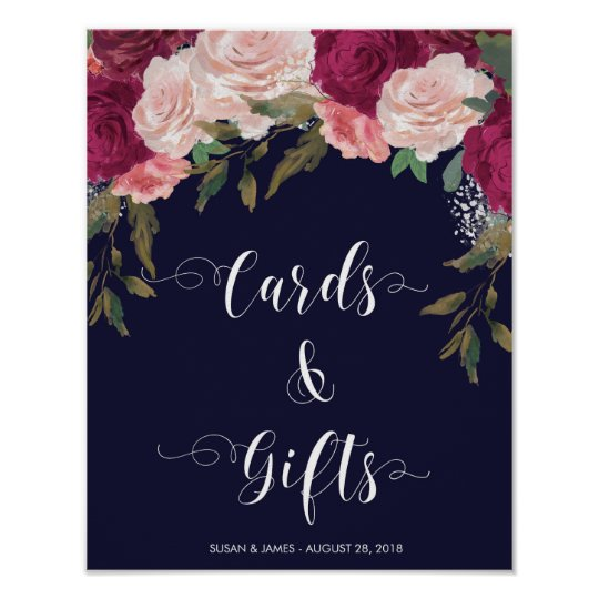 Cards Gifts wedding sign navy pink florals