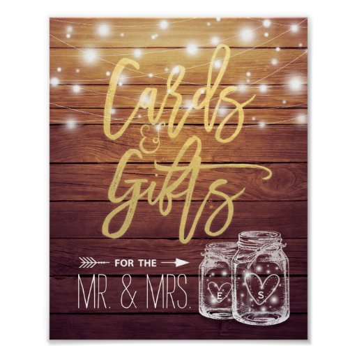 Cards & Gifts Wedding Sign Rustic Wood Mason